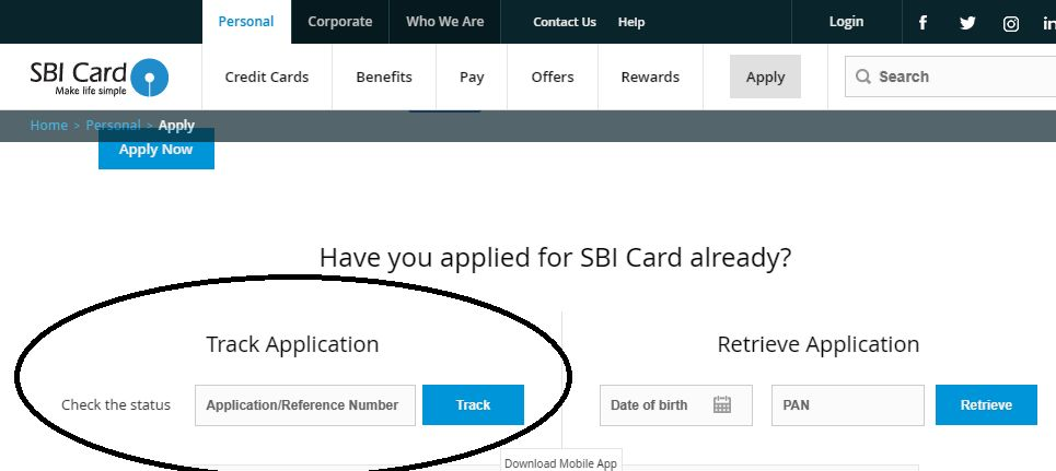 sbi credit card application tracking number